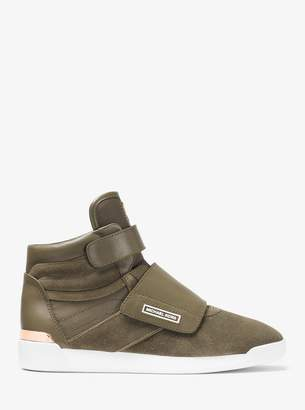 MICHAEL Michael Kors Addie Leather and Canvas High-Top Trainer