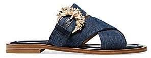 MICHAEL Michael Kors Women's Frieda Embellished Denim Slides Sandals