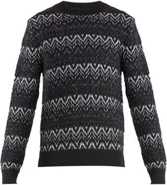 Saint Laurent Zig Zag Wool Blend Sweater - Mens - Black