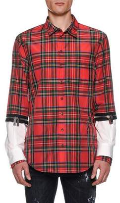 DSQUARED2 Men's Tartan Zip-Cuff Sport Shirt