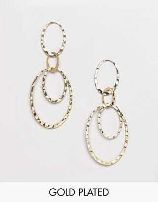 Pilgrim gold plated multi hoop drop earrings