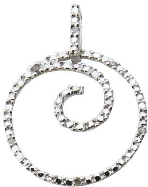 10K White Gold Swirl Circle Pendant with Diamond Accents