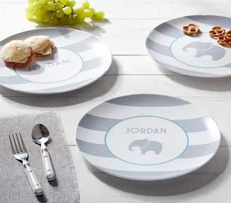 Pottery Barn Kids Grey Stripe Plates, Personalized Stripe