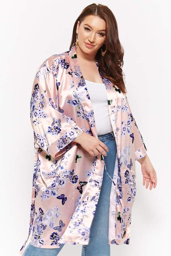 Plus Size Pretty Robes Floral Satin Robe