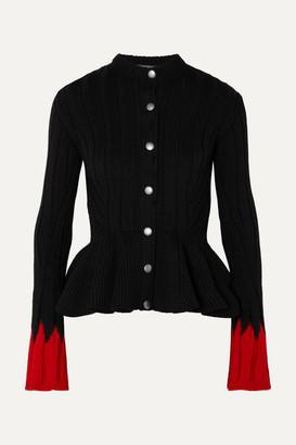 Alexander McQueen Ribbed Wool-blend Peplum Cardigan - Black