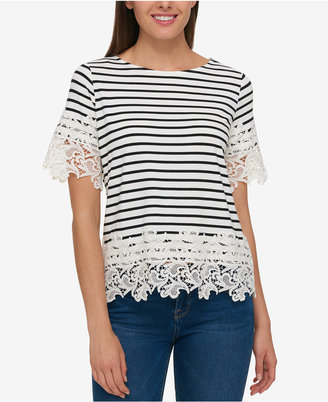 Tommy Hilfiger Striped Lace-Trim Top, Created for Macy's $79.50 thestylecure.com