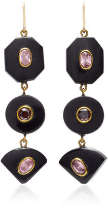 Ashley Pittman Zambarau Dark Horn Rose Quartz and Garnet Earrings
