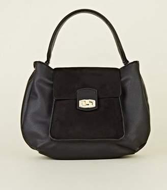 New Look Black Chunky Handle Hobo Bag
