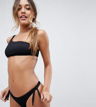 South Beach Exclusive mix and match ribbed one shoulder bikini top in black