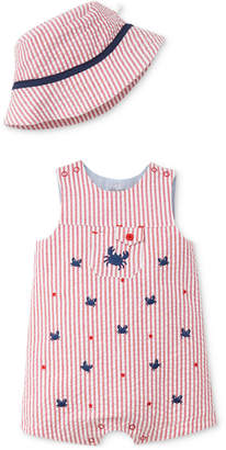 Little Me 2-Pc. Striped Seersucker Cotton Hat & Romper Set, Baby Boys