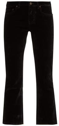 Saint Laurent Mid Rise Velvet Cropped Trousers - Womens - Black