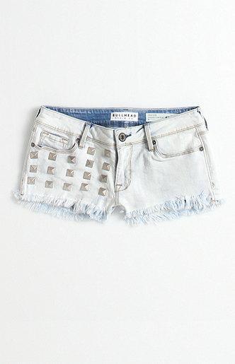 Bullhead Denim Co Studded Fray Hem Snow Shorts