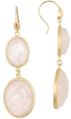 Rivka Friedman 18K Gold Clad Graduated Faceted Oval Rose Quartz Double Dangle Earrings