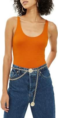 Topshop Textured Scoop Neck Bodysuit