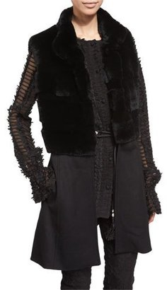 St. John Collection Rabbit-Fur Knit Vest, Caviar $2,895 thestylecure.com
