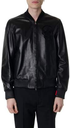 Alexander McQueen Black Lamb Leather Bomber Jacket With Fabric Inserts