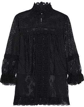 Anna Sui Flocked Tulle-Paneled Guipure Lace-Trimmed Crocheted Blouse