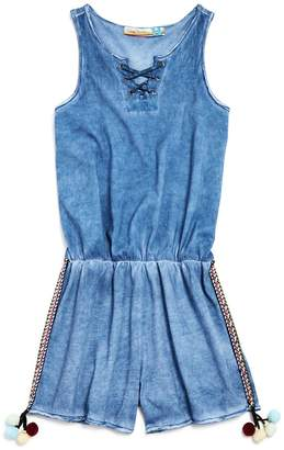 Vintage Havana Girls' Lace-Up Mineral-Wash Romper with Pom-Poms