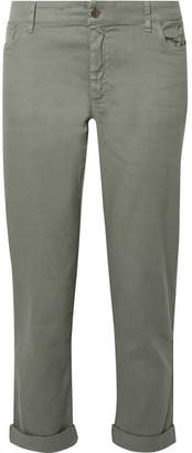 Hatch The Boyfriend Flax-blend Slim-leg Pants - Gray green