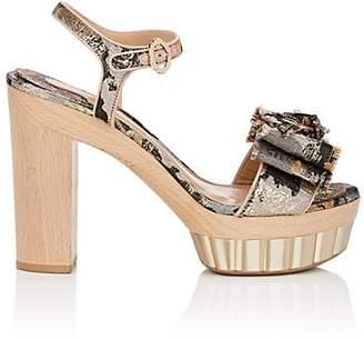 Salvatore Ferragamo Women's Bow-Embellished Jacquard Platform Sandals - Nudeflesh