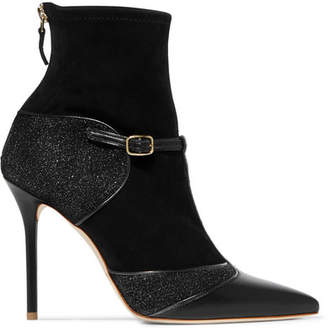 Malone Souliers Sadie Suede, Leather And Lurex Boots - Black