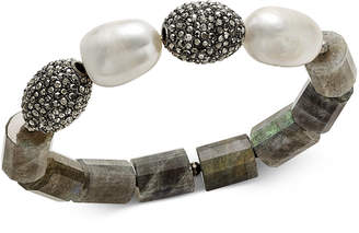 Paul & Pitu Naturally 14k Gold-Plated Crystal, Stone & Cultured Freshwater Pearl Stretch Bracelet
