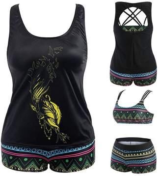 fd9b765e24c14 Lavany Women Swimsuits Plus Size 3 Piece Push-up Padded Tankini Swimwear  for Women (