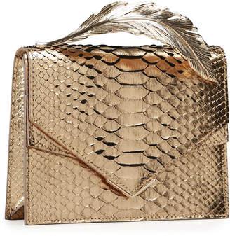 Ralph & Russo Alina Metallic Python Clutch Bag, Gold