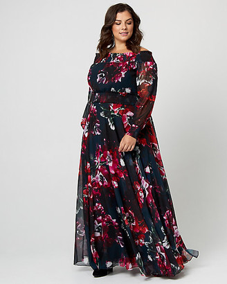 Le Château Floral Print Chiffon Off-The-Shoulder Gown