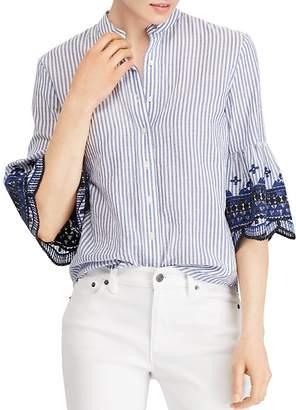 Lauren Ralph Lauren Embroidered Bell-Sleeve Top