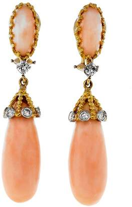 18K Yellow Gold Angel Skin Coral & 0.062cts Diamond Vintage Dangle Earrings