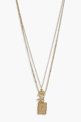 boohoo Double Rose Necklace