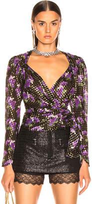 ATTICO Floral Lurex Plumetis Blouse in Purple & Black   FWRD