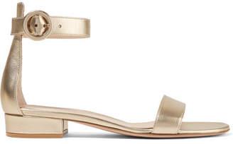 Gianvito Rossi Portofino 20 Metallic Leather Sandals - Gold