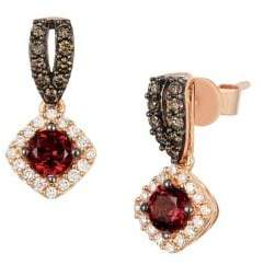 LeVian 14k Strawberry Gold Raspberry Rhodolite Vanilla Diamonds & Chocolate Diamonds Square Drop Earrings