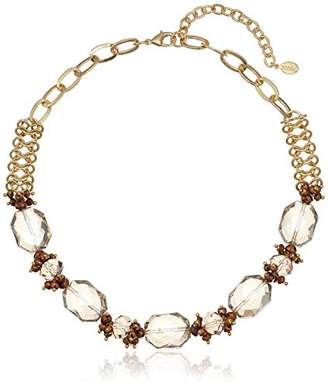 1928 Jewelry Gold-Tone Light Topaz Color Faceted Beaded Collar Adjustable Necklace