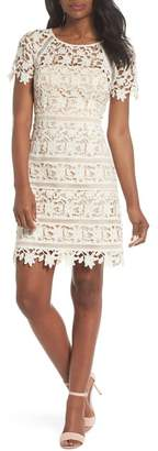 Eliza J Lace Overlay Sheath Dress (Regular & Petite)