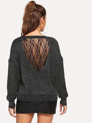 Shein Floral Lace Insert Marled Sweater