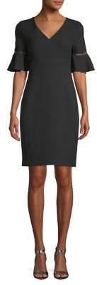 Karl Lagerfeld Paris Bell-Sleeve Sheath Crepe Dress