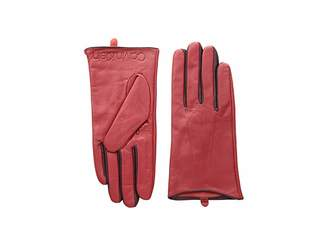Calvin Klein Leather Gloves w/ Color Pop Debossed Logo