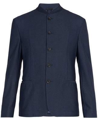 Giorgio Armani Single Breasted Twill Blazer - Mens - Navy