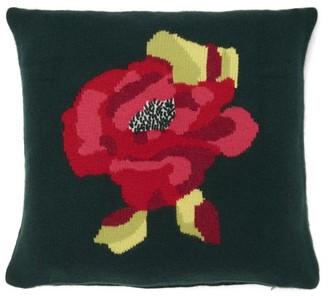 Allude Rose Intarsia Knit Cashmere Cushion - Dark Green
