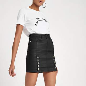 River Island Black coated denim high rise mini skirt