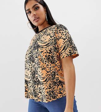 Asos DESIGN Curve t-shirt in bright animal print