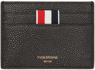 Thom Browne Black Leather Card Holder $290 thestylecure.com