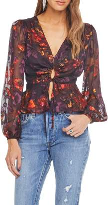 ASTR the Label Gianna Front Tie Peplum Blouse