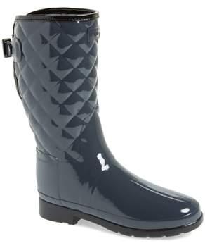 Hunter Refined High Gloss Quilted Short Rain Boot
