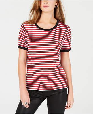Rebellious One Juniors' Cherry Striped Ringer T-Shirt
