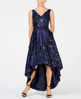Calvin Klein Sequined Lace High-Low Ball Gown