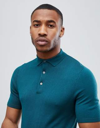 New Look Muscle Fit Polo Shirt In Teal